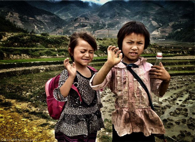 Hmong schoolchildren near the village of Cat Cat, Vietnam.