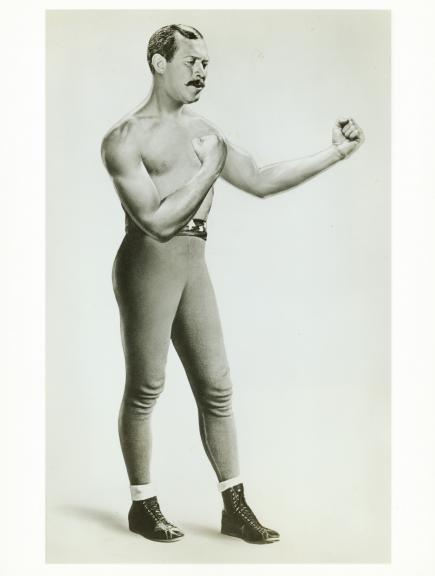 "Ward Bond (with a little airbrushing) as John L. Sullivan in ""Gentleman Jim."""