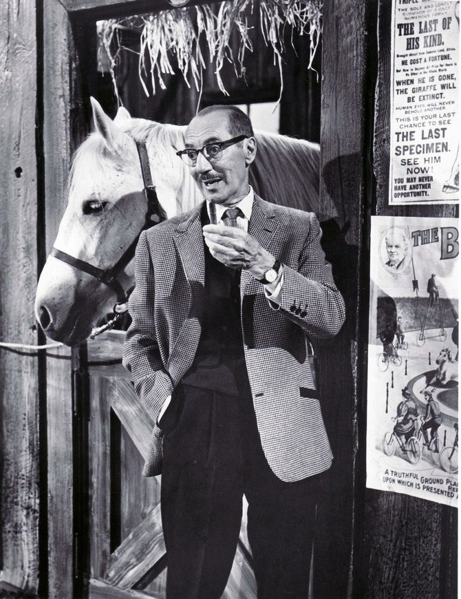 "Groucho with what appears to be one of Mr. Ed's poor relations on ""The DuPont Show of the Week."""