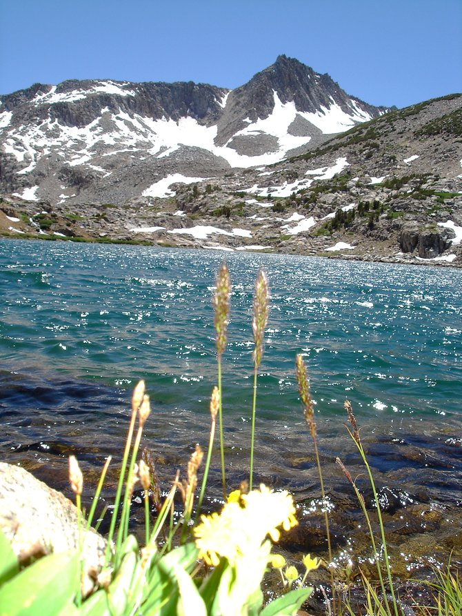 Glacial lake with Mt. Goddard as a backdrop, Eastern Sierras.