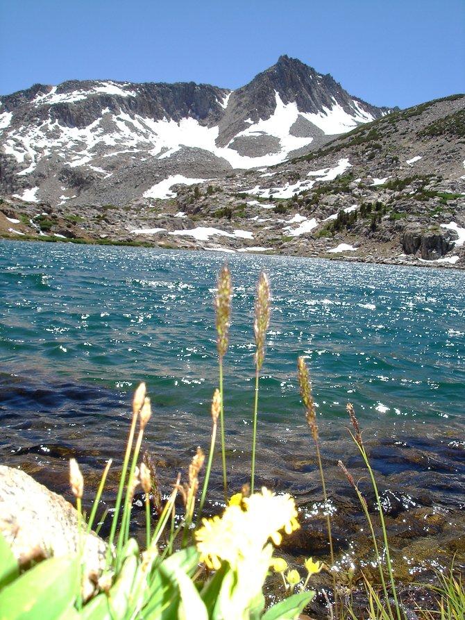 Glacial lake with Mt. Goddard as a backdrop, Eastern Sierras.