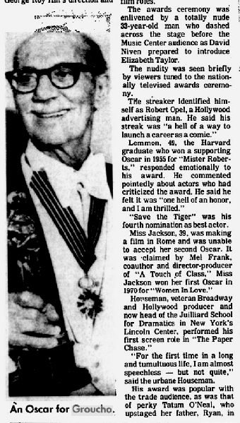 """Groucho and the streaker! """"The Free Lance-Star,"""" April 3, 1974."""