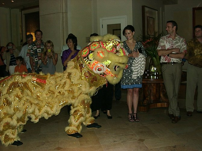Year of the Snake lion dance, Four Seasons at Wailea, Maui.