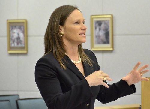 Prosecutor Tracy Prior refutes defense motion to dismiss.  Photo Weatherston.