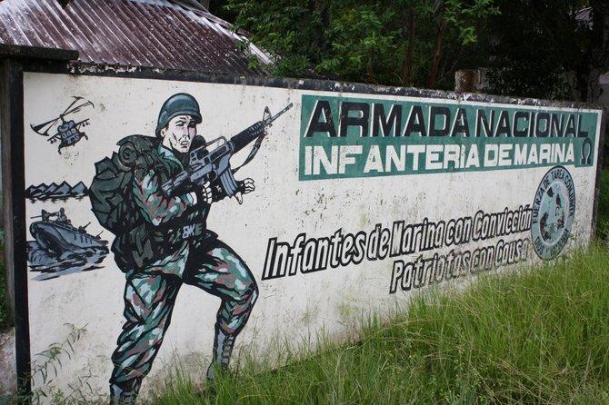 Rambo-esque Colombian military billboard.