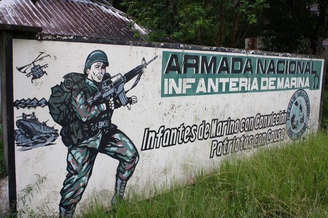 Rambo-esque Colombian military billboard.