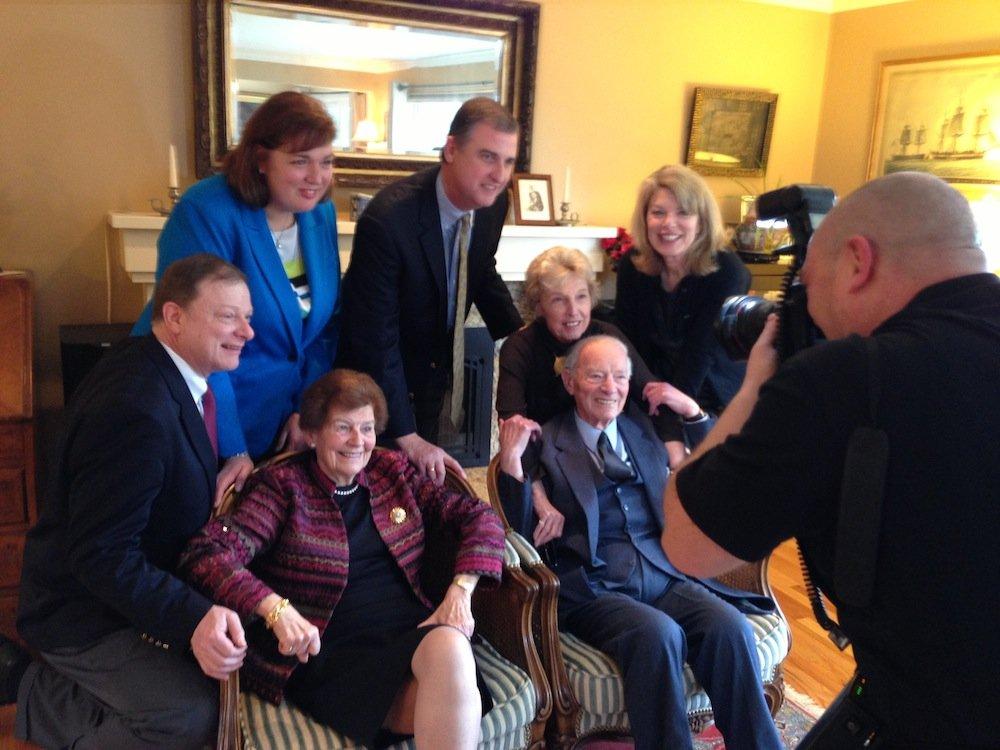 David's family getting their portrait taken.