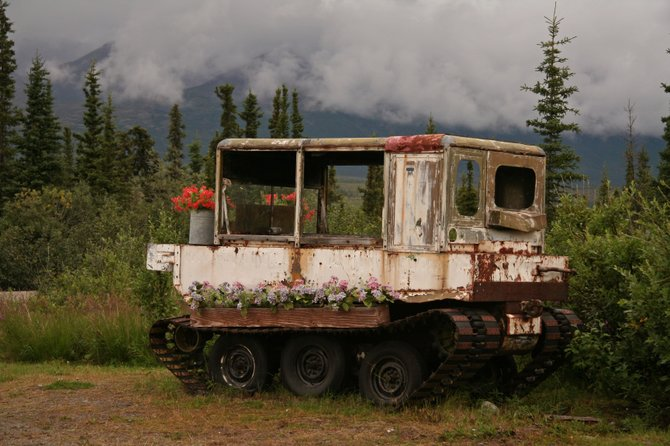 "Converted flower ""stand"" on the Denali Highway."