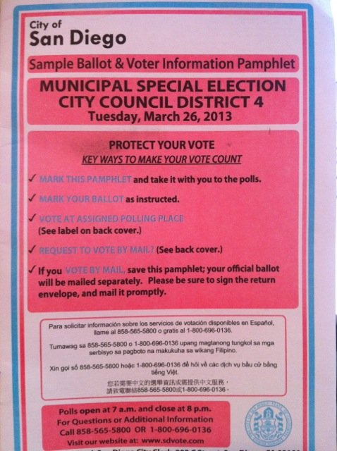 Sample Ballot & Voter Info for City Council District 4  -  Vote Tues., March 26, 2013