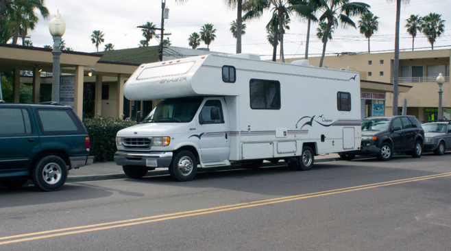 RV parked on Cable Street in Ocean Beach