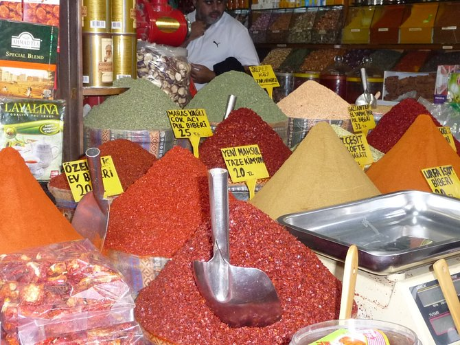 Fresh spices stacked high and ready for purchase