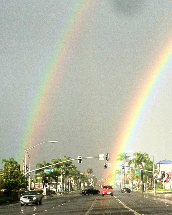 Escondido on a beautiful raining day. how often do you see a double rainbow?