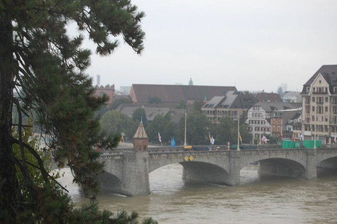 The historic Mittlere Brücke (Central Bridge), first built in 1225, stretches across the river Rhine.