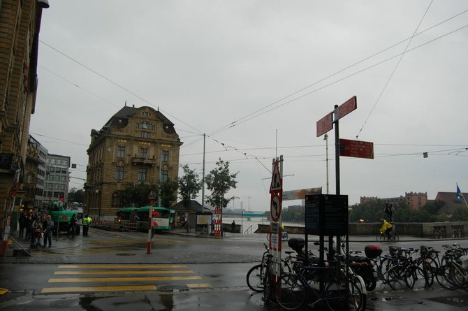 Those ubiquitous Swiss trams pass near the five star Grand Hotel Les Trois Rois.