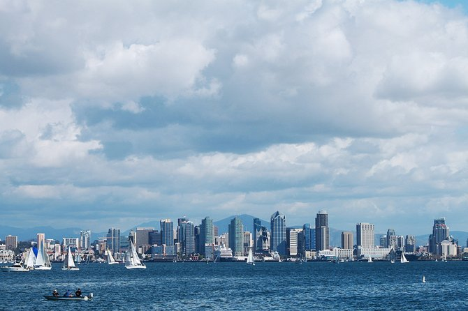 View of downtown San Diego while heading out of the bay on a whale watching tour.