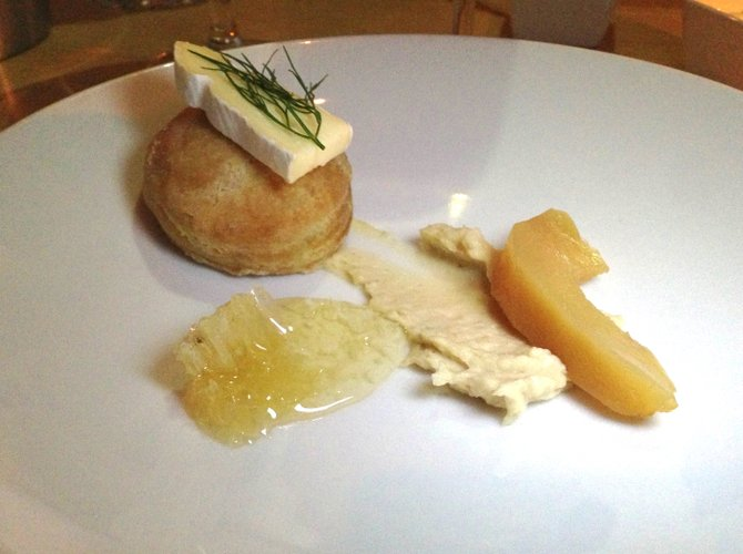 Cow's milk cheese, buttermilk biscuit, honeycomb, cashew butter, and quince.