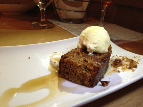 Pecan cake with parsnip ice cream