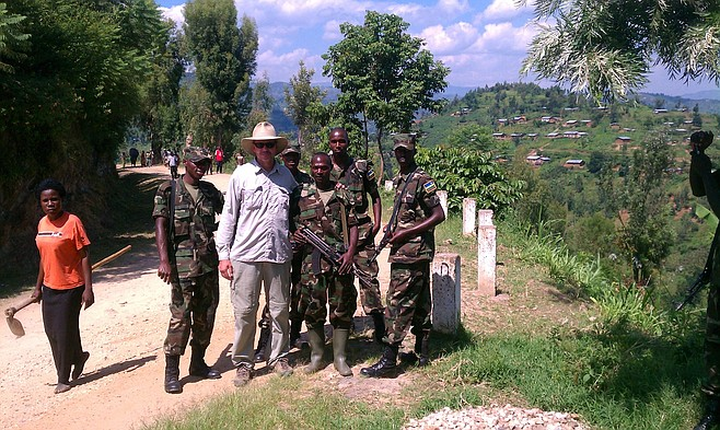 The author with a group of young Rwandan soldiers.