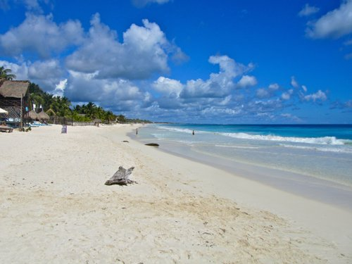 Silky sand beach at Tulum on Mexico's Caribbean Riviera Maya