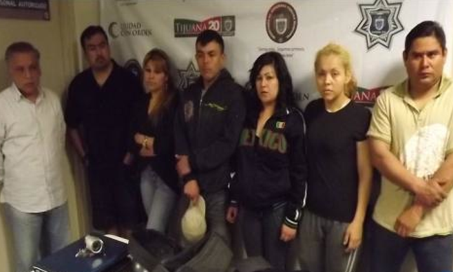 Tijuana police photo of arrestees involved in kidnapping and under-age prostitution ring