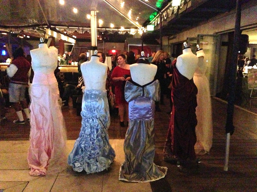 Finished dresses from the back