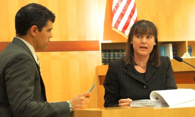 Prosecutor Pat Espinoza and forensic expert Shelley Webster.  Photo Weatherston.