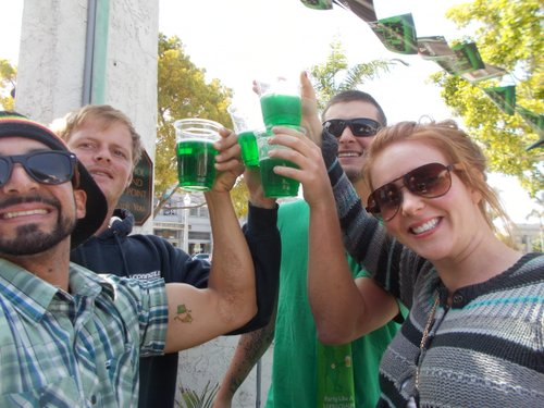 "The gal with the good Irish name, Keira (drinking green Bud with Esteban, on the left - the guy with the leprechaun tatt on his bicep - Cody and Andrew), swears her last name is ""O'Rainbow"""