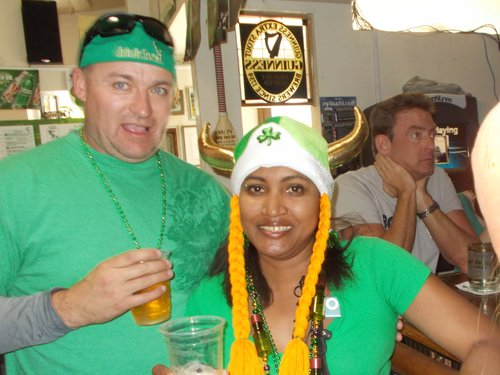 Merlinda (with James) says her helmet's made from leprechauns' 'chauns…uh horns