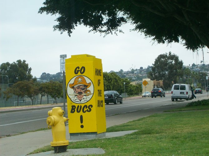 Utility box art in front of Mission Bay High School on Grand Ave. in Pacific Beach.