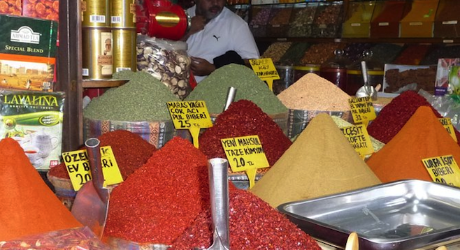 Fresh spices stacked high at the Egyptian Bazaar in Istanbul.