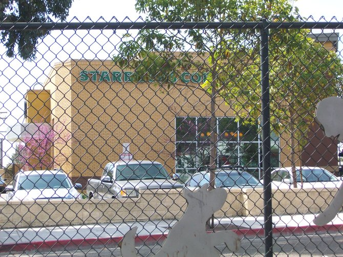 Starbucks on Clairemont Drive...thru a fence.
