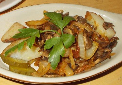 Potato-onion-mushroom dish, $7 (Socialist size)