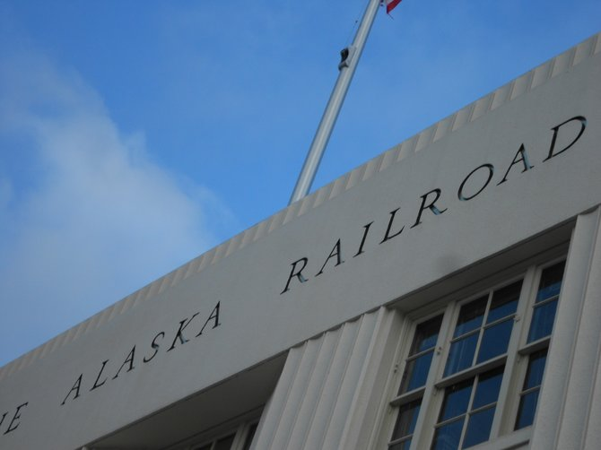 Alaska Railroad sign at passenger depot in downtown Alaska.