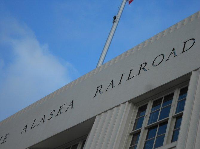 Alaska Railroad sign at passenger depot in downtown Alaska.