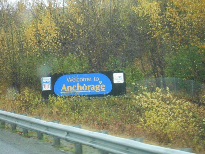 Welcome sign along highway entering Anchorage, Alaska.