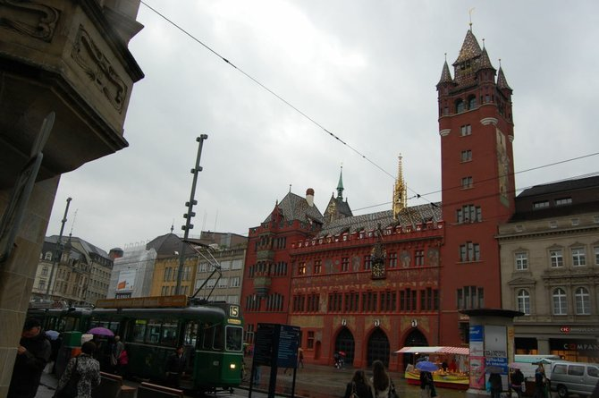 A tram approaches Basel's Kremlin-like Rathaus, or city hall.