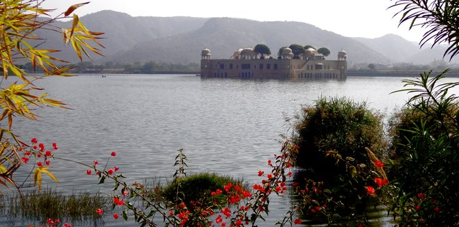 "Jal Mahal, the ""Water Palace"" in North India."