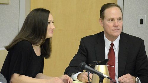 U.S. Border Patrol agent Kallie Helwig and her attorney.  Photo Bob Weatherston.
