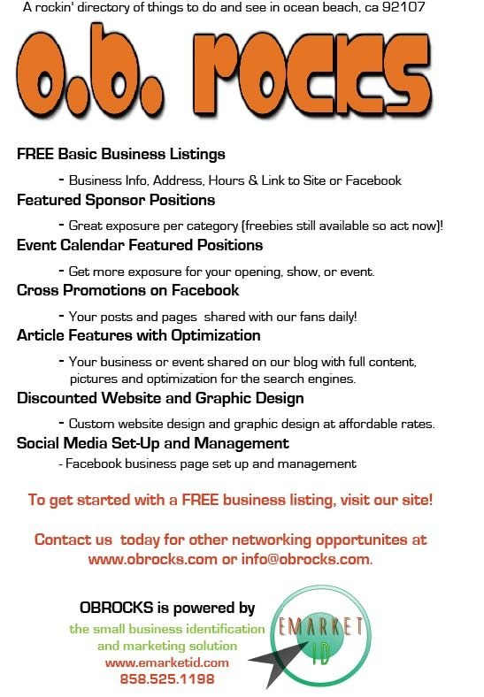 Lots of ways to spread the word about your Ocean Beach business or event!
