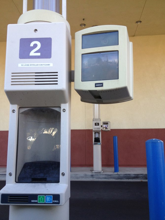 One of Chase Bank's drive-through tubes with pneumatic carriers at 7176 Avenida Encinas, Carlsbad.