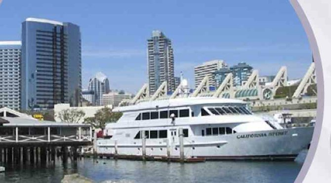 Yacht pictured on San Diego COO recruiting brochure