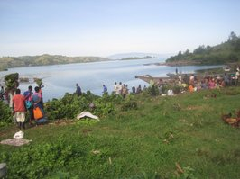 Congo market on the shore of Lake Kivu. The DRC is in the background 23 miles away.