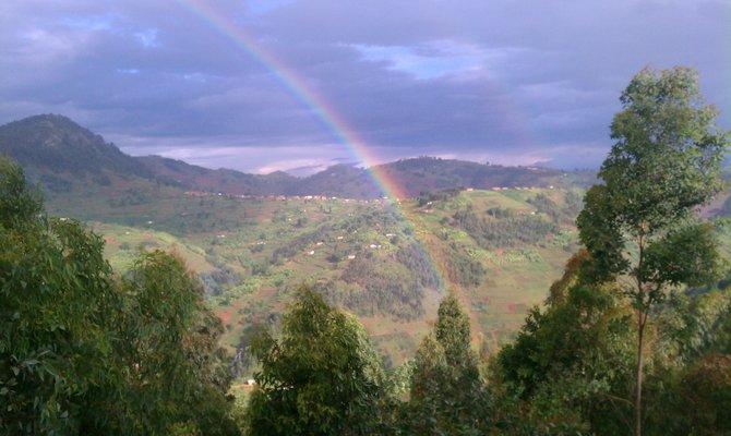 A double rainbow over the Karongi district near Kibuye, Rwanda.