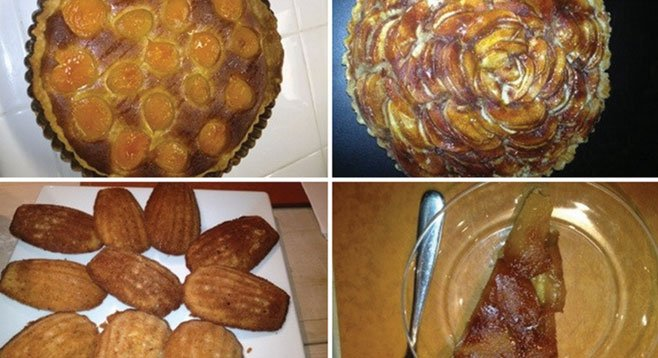 Clockwise from upper left: apricot tart, apple tart, Madeleines made at Sur La Table, caramel apple tart made at Sur La Table