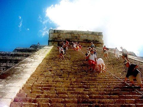 Pyramid at Chichen Itza in state of Yucatan in Mexico