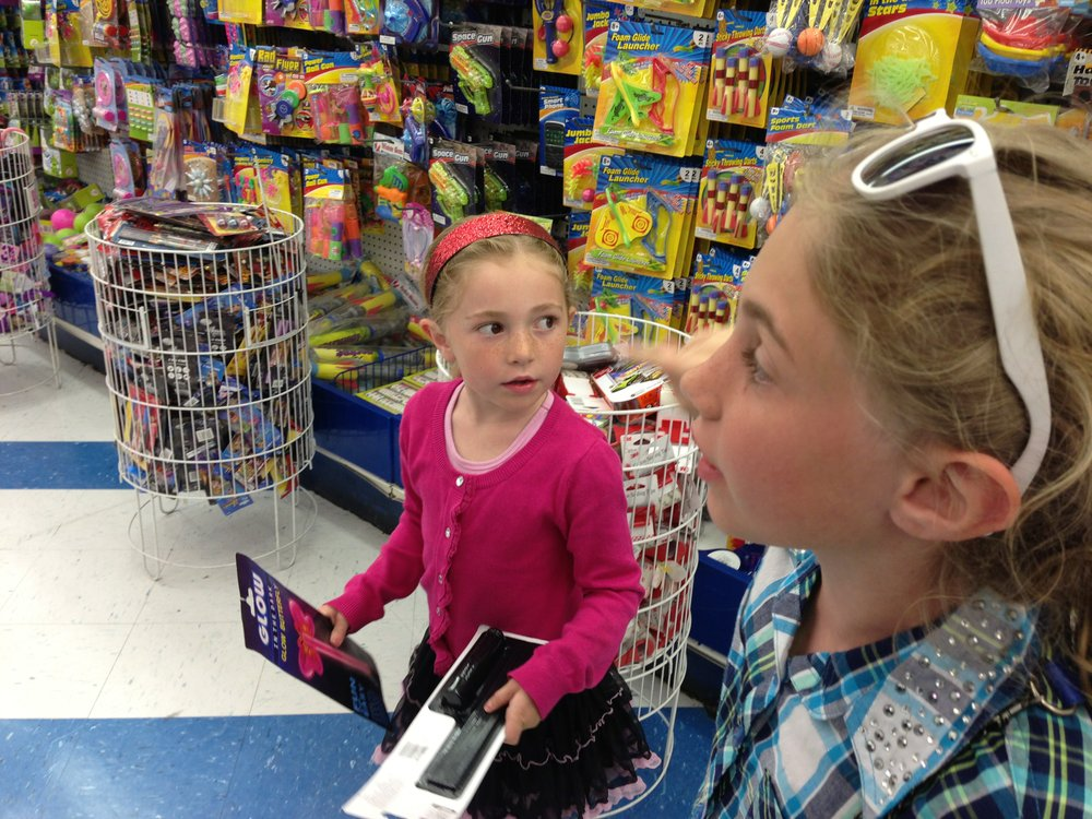 Little sisters shopping