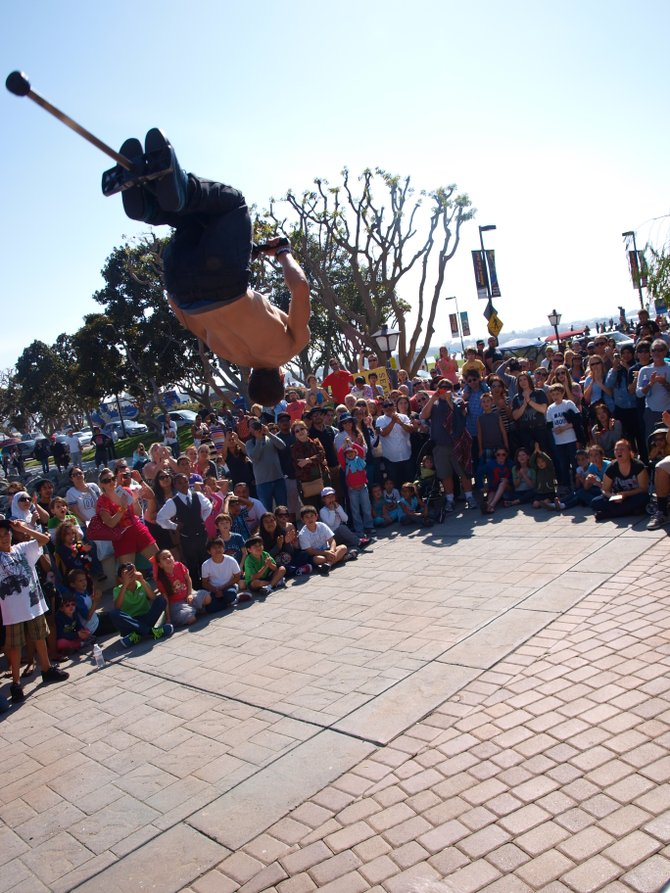 Pogo Fred at the 2013 Busker Festival at Seaport Village