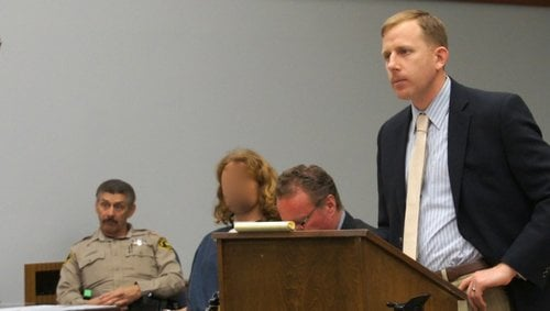 Prosecutor Matthew Brower alleges a prior conviction for same offense, for defendant Craine.  Photo Weatherston.