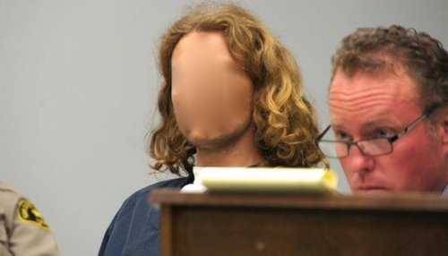 The judge ordered Timothy Craine's face obscured.  Photo Weatherston.