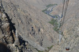 On the Palm Springs Tramway, on the way down about to pass the car coming up.